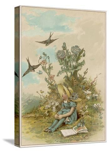 Girl with Birds-M Ellen Edwards-Stretched Canvas Print