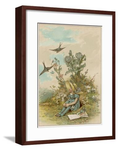 Girl with Birds-M Ellen Edwards-Framed Art Print