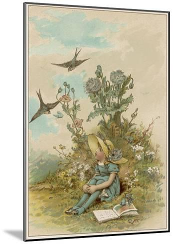 Girl with Birds-M Ellen Edwards-Mounted Giclee Print
