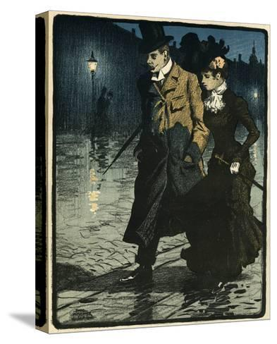 Couple in Wet Street-Paul Fischer-Stretched Canvas Print