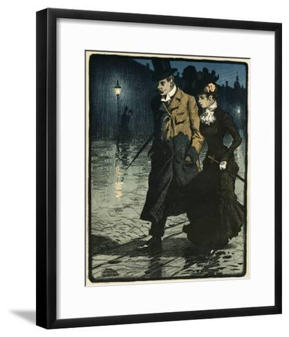 Couple in Wet Street-Paul Fischer-Framed Art Print