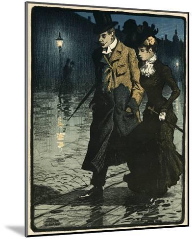 Couple in Wet Street-Paul Fischer-Mounted Giclee Print