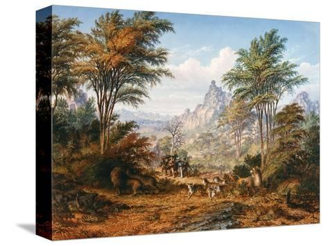 The Lion Family-Thomas Baines-Stretched Canvas Print