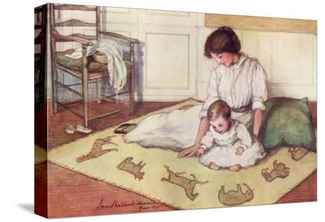 Mother and Baby with Crawling Rug--Stretched Canvas Print