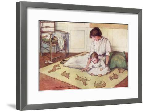 Mother and Baby with Crawling Rug--Framed Art Print