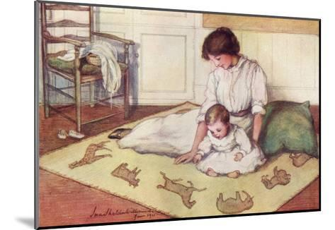 Mother and Baby with Crawling Rug--Mounted Giclee Print