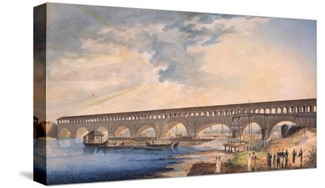 Building of the Bridge at Canaro--Stretched Canvas Print