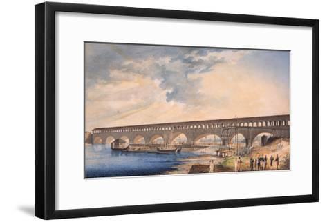 Building of the Bridge at Canaro--Framed Art Print