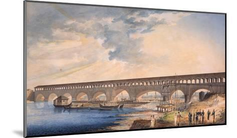 Building of the Bridge at Canaro--Mounted Giclee Print