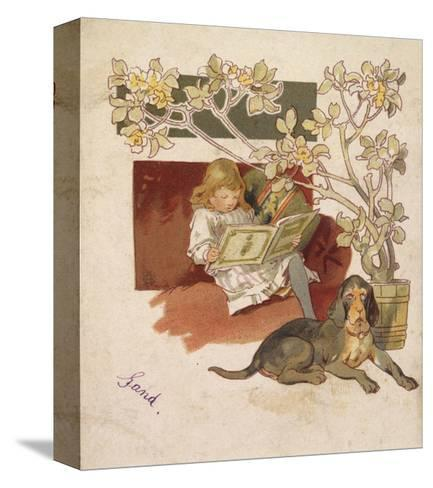 Reading Girl, Bloodhound--Stretched Canvas Print