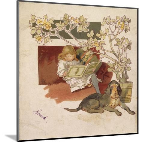 Reading Girl, Bloodhound--Mounted Giclee Print