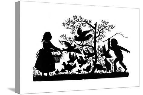 Silhouette - Children and Birds--Stretched Canvas Print