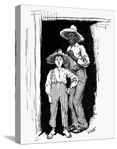 Huckleberry Finn and Jim--Stretched Canvas Print