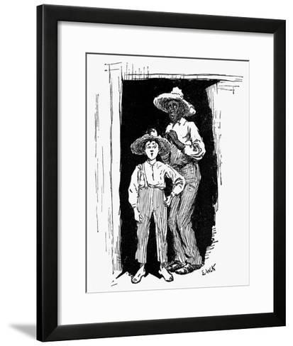 Huckleberry Finn and Jim--Framed Art Print