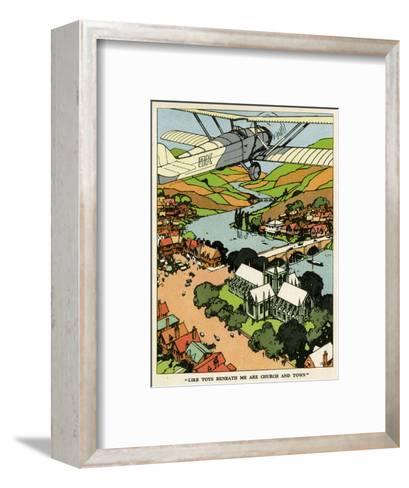 Biplane Above Church and Town--Framed Art Print