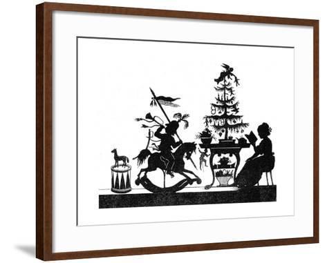 Silhouette - Children and Birds--Framed Art Print