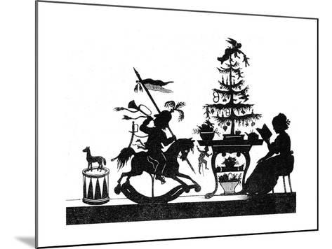 Silhouette - Children and Birds--Mounted Giclee Print