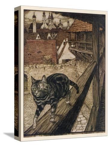 Cat and Mouse-Arthur Rackham-Stretched Canvas Print