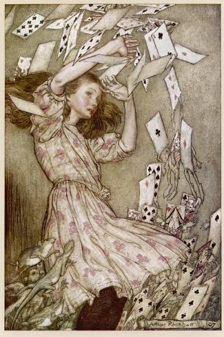 Alice: Cards Fly Up-Arthur Rackham-Stretched Canvas Print