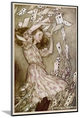 Alice: Cards Fly Up-Arthur Rackham-Mounted Giclee Print