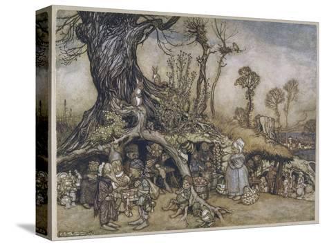 The Little Folk's Market-Arthur Rackham-Stretched Canvas Print