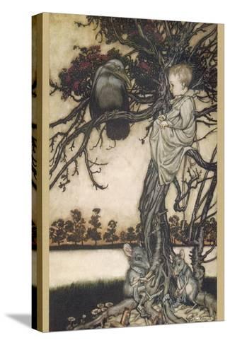 Peter Pan and Solomon Caw-Arthur Rackham-Stretched Canvas Print
