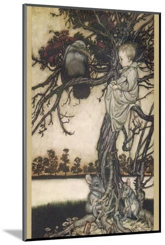 Peter Pan and Solomon Caw-Arthur Rackham-Mounted Giclee Print