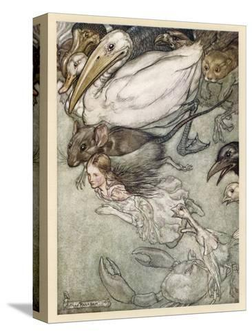 Alice and Pool of Tears-Arthur Rackham-Stretched Canvas Print