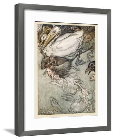 Alice and Pool of Tears-Arthur Rackham-Framed Art Print