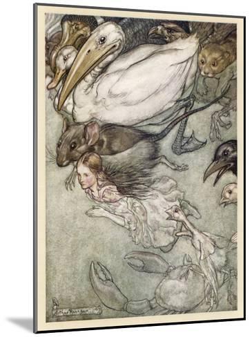 Alice and Pool of Tears-Arthur Rackham-Mounted Giclee Print