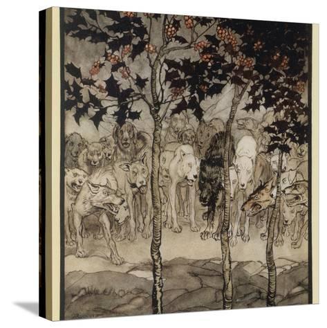 Mythical Irish Dogs-Arthur Rackham-Stretched Canvas Print
