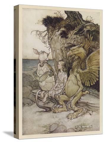 Alice, Mock-Turtle, Grypho-Arthur Rackham-Stretched Canvas Print