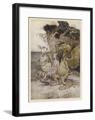 Alice, Mock-Turtle, Grypho-Arthur Rackham-Framed Art Print
