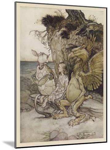Alice, Mock-Turtle, Grypho-Arthur Rackham-Mounted Giclee Print