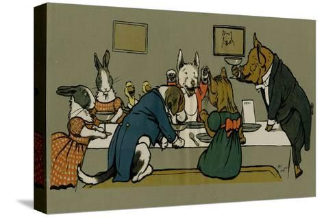 Hungry Peter the Pig's Dinner Party-Cecil Aldin-Stretched Canvas Print