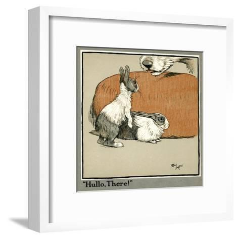 Humpty and Dumpty the Rabbits Meet a Dog-Cecil Aldin-Framed Art Print
