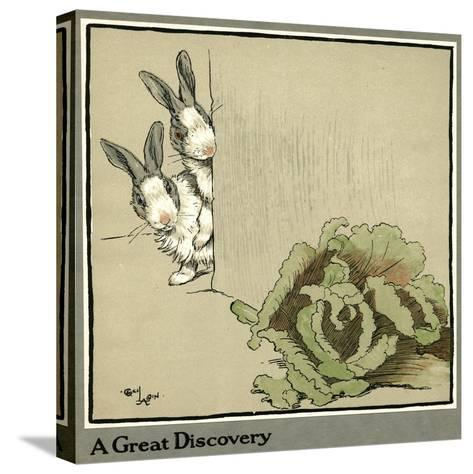 Humpty and Dumpty the Rabbits Find a Cabbage-Cecil Aldin-Stretched Canvas Print