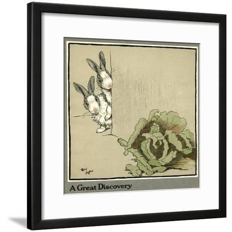 Humpty and Dumpty the Rabbits Find a Cabbage-Cecil Aldin-Framed Art Print