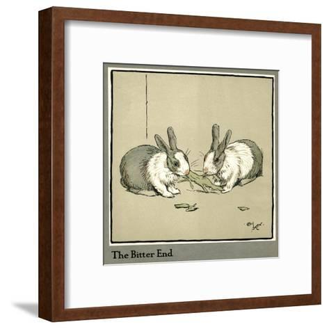 Humpty and Dumpty the Rabbits Eating a Cabbage-Cecil Aldin-Framed Art Print