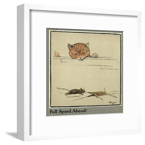 Rufus the Cat Watches a Mouse-Cecil Aldin-Framed Art Print