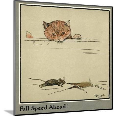 Rufus the Cat Watches a Mouse-Cecil Aldin-Mounted Giclee Print