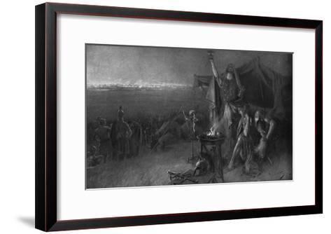 Alexander the Great on the Eve of Gaugamela-C. Castaigne-Framed Art Print