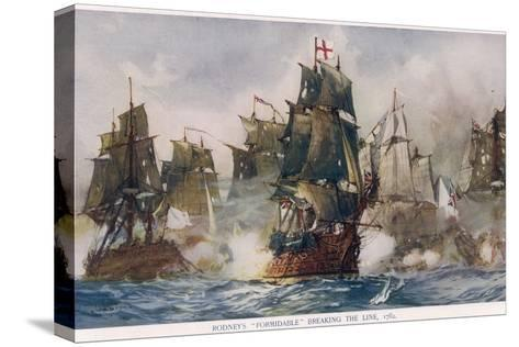 Naval Battle 1782-Charles Dixon-Stretched Canvas Print