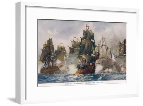 Naval Battle 1782-Charles Dixon-Framed Art Print