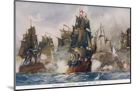 Naval Battle 1782-Charles Dixon-Mounted Giclee Print