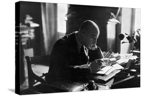 D'Annunzio in His Study-Ferrario di Gardone Riviera-Stretched Canvas Print