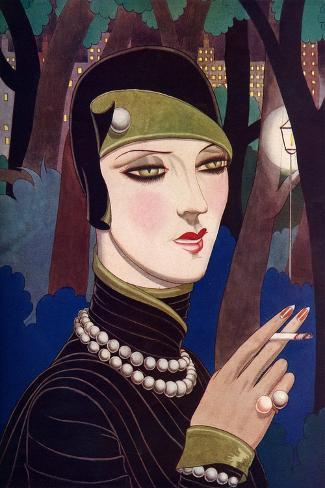 A Fashionable Woman Wearing Pearls and Smoking-Eliot Hodgking-Stretched Canvas Print