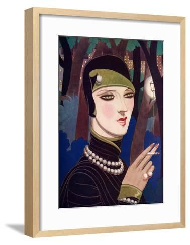 A Fashionable Woman Wearing Pearls and Smoking-Eliot Hodgking-Framed Art Print