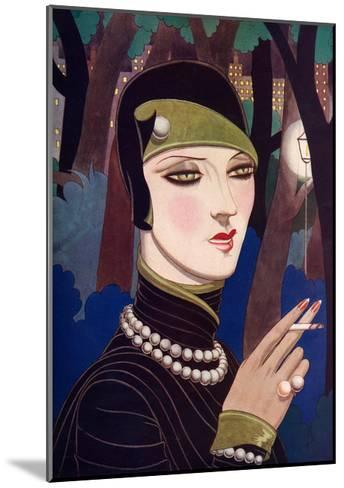 A Fashionable Woman Wearing Pearls and Smoking-Eliot Hodgking-Mounted Giclee Print