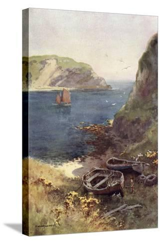 Lulworth Cove-Ernest W Haslehust-Stretched Canvas Print